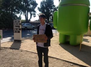 James Damore in a Goolag T-Shirt Google Venice Beach